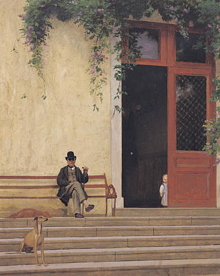 Man Of The House Painting - The Artist's Father And Son On The Doorstep Of His House by Jean Leon Gerome