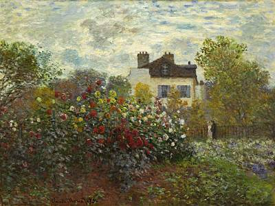 Curated Beach Towels - The Artists Garden In Argenteuil by Claude Monet