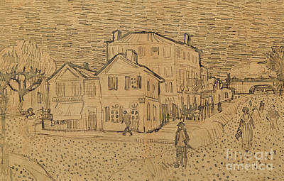 Pen And Ink Tree Drawing - The Artists House In Arles by Vincent Van Gogh