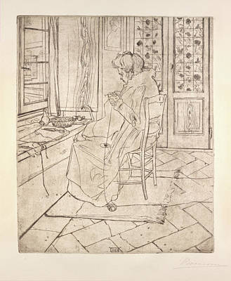 Umberto Drawing - The Artists Mother Crocheting by Umberto Boccioni