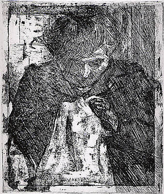 Umberto Boccioni Drawing - The Artists Mother Sewing by Umberto Boccioni