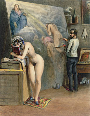 Reading Drawing - The Artists Wife by French School