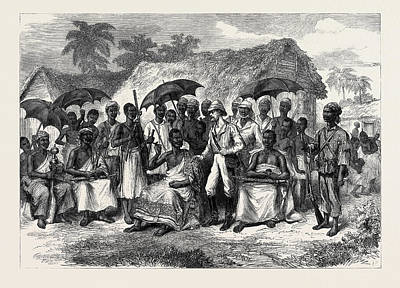 1874 Drawing - The Ashantee War A Conference With A Native King 1874 by English School