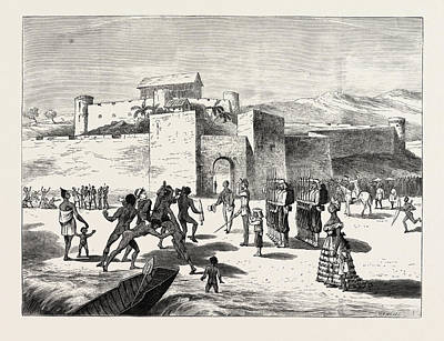 Ghana Drawing - The Ashantee War, Arrival Of The Governor At Cape Coast by African School
