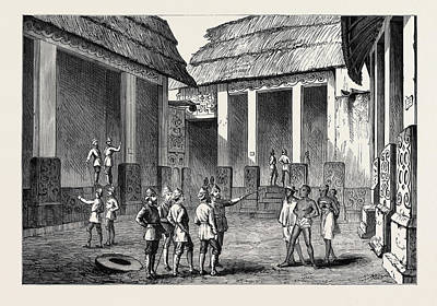 Selecting Drawing - The Ashantee War Interior Of The Adansi Chiefs Palace by English School