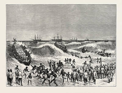 Ghana Drawing - The Ashantee War Landing Troops On The Gold Coast by African School