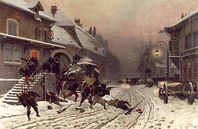 Lamppost Painting - The Attack At Dawn by Alphonse Marie De Neuville