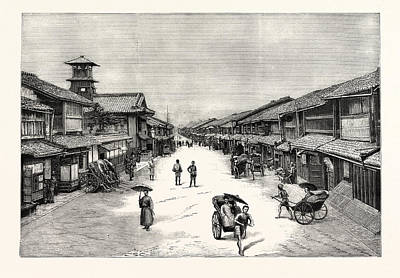 Main Street Drawing - The Attack Upon The Czarevitch Of Russia By A Japanese by Japanese School