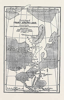 The Austrian Polar Expedition, Map Of Franz Joseph Land Art Print by Austrian School