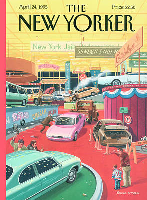 24th Painting - The Auto Show by Bruce McCall