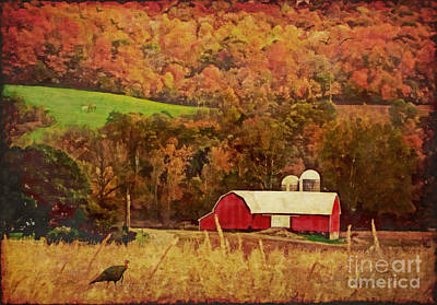 Digital Art - The Autumn Barn by Lianne Schneider
