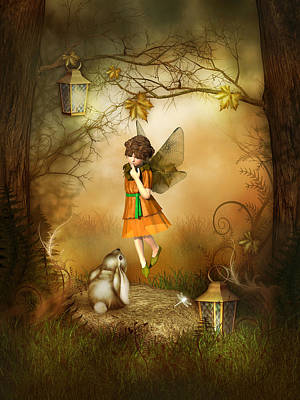 Art Print featuring the digital art The Autumn Fairy by Jayne Wilson