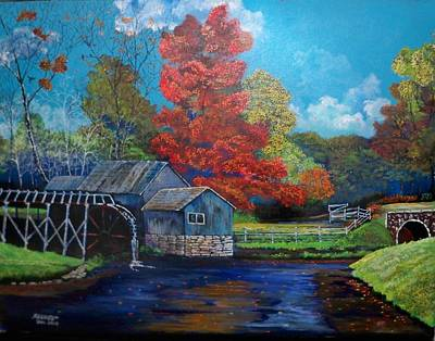Gristmill Painting - The Autumn Gristmill by Dave Farrow