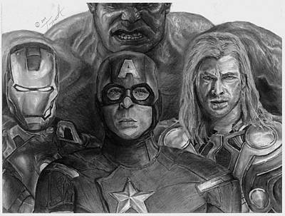 Captain America Drawing Drawing - The Aveners Drawing by Tony Orcutt