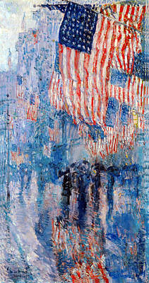 Landmarks Rights Managed Images - The Avenue In The Rain Royalty-Free Image by Frederick Childe Hassam