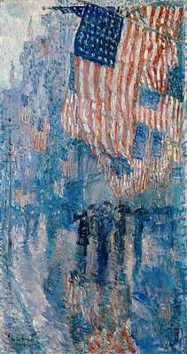 Old Glory Painting - The Avenue In The Rain by Georgia Fowler
