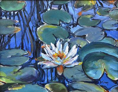 Lilly Pond Painting - The Awakening by Donna Tuten