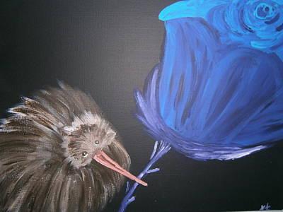The Awesome Kiwi Holding The Tailed Flower Original by Tania Stefania Katzouraki
