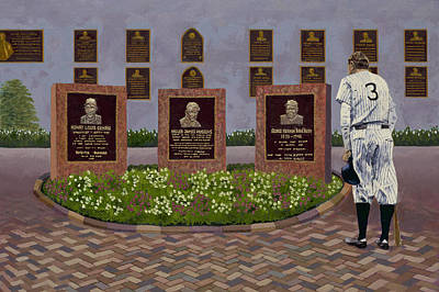 Yankee Stadium Painting - The Babe At Monument Park by Ron Gibbs