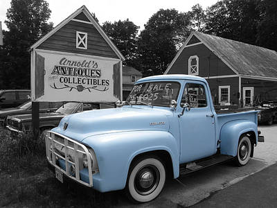 Photograph - The Baby Blue Ford by Sarah Lamoureux