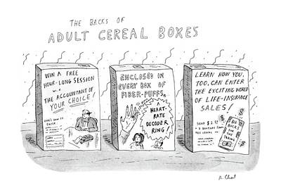 The Back Drawing - The Backs Of Adult Cereal Boxes by Roz Chast