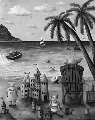 Jet Ski Painting - The Bacon Shortage In Bw by Leah Saulnier The Painting Maniac