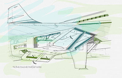 Civil Aviation Digital Art - The Bae Concorde Modified Intake  by Don Kuing