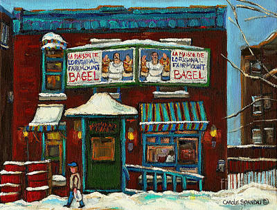 Painting - The Bagel Factory On Fairmount by Carole Spandau