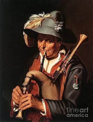 Abraham Painting - The Bagpiper by Abraham Bloemaert