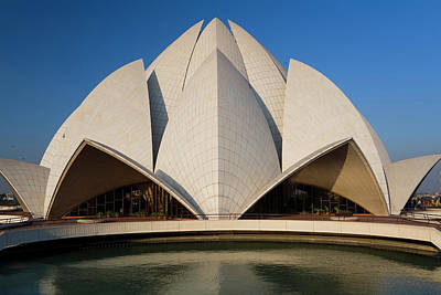 East Indian Photograph - The Bahai Lotus Flower Temple, Centre by Peter Adams