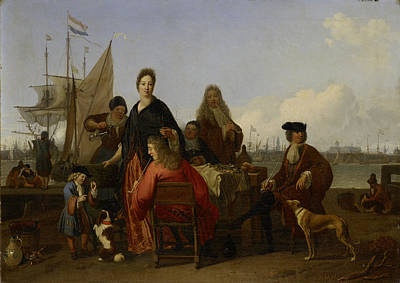 Het Drawing - The Bakhuysen Backhuysen And De Hooghe Families At A Meal by Litz Collection