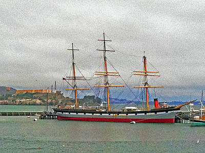 Photograph - The Balclutha Ship And Alcatraz Island 02 by Bill Owen