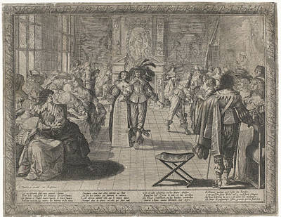 The Ball, Interior With Elegant Company Art Print by Cornelis Danckerts Abraham Bosse
