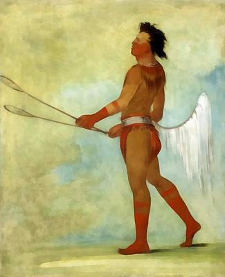 Digital Art - The Ball Player by George Catlin