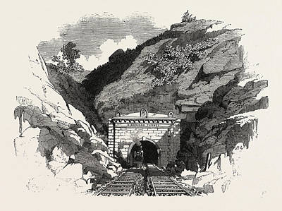 Baltimore Drawing - The Baltimore And Ohio Railway Ringwood Tunnel by English School