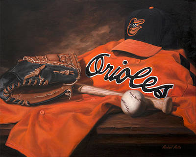 Baseball Cap Painting - The Baltimore Orioles by Michael Malta
