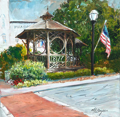 Bandstand Painting - The Bandstand In Triangle Park Chagrin Falls by Maryann Boysen