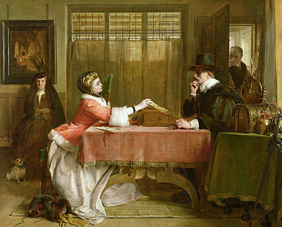 Banker Painting - The Bankers Private Room, Negotiating by John Callcott Horsley