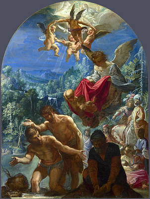 Religious Artist Painting - The Baptism Of Christ by Adam Elsheimer