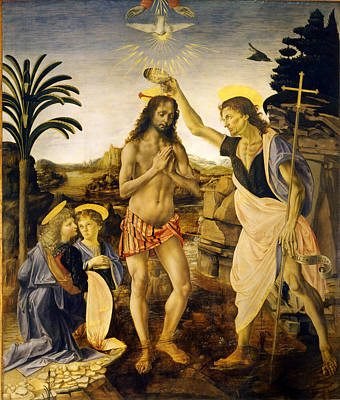 Baptism Painting - The Baptism Of Christ by Leonardo Da Vinci and Andrea del Verrocchio