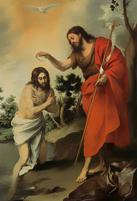 Baptizing Painting - The Baptism Of Christ by Mountain Dreams