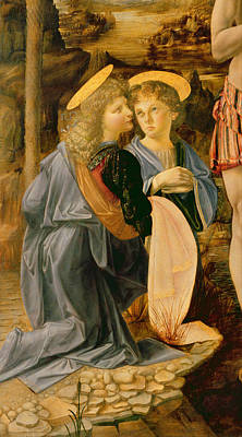 River Jordan Painting - Detail Of The Baptism Of Christ By John The Baptist by Andrea Verrocchio