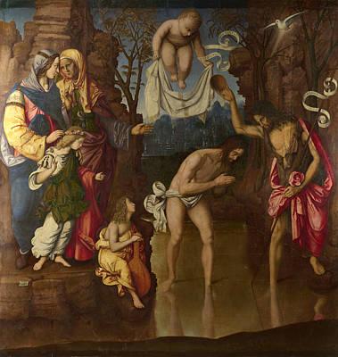 Baptism Painting - The Baptism Of Christ by Francesco da Cotignola