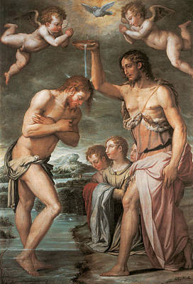 The Baptism Of Christ Art Print by Giorgio vasari
