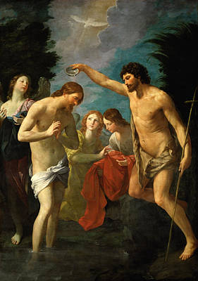 Baptism Painting - The Baptism Of Christ by Guido Reni