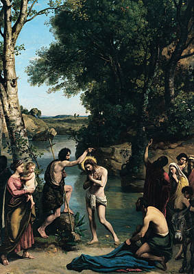 Pouring Painting - The Baptism Of Christ by Jean Baptiste Camille Corot