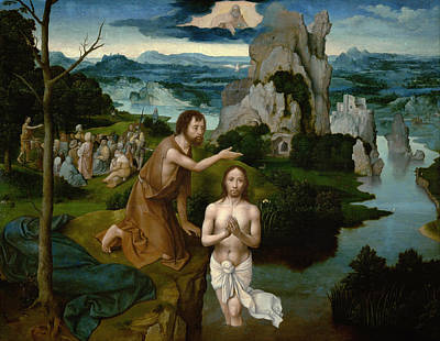 Religious Artist Painting - The Baptism Of Christ by Joachim Patinir