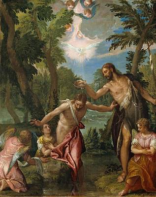 Baptism Painting - The Baptism Of Christ by Paolo Veronese