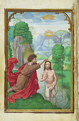 Baptism Painting - The Baptism Of Christ Simon Bening, Flemish by Litz Collection