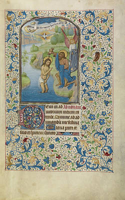 Baptism Drawing - The Baptism Of Christ Willem Vrelant, Flemish, Died 1481 by Litz Collection
